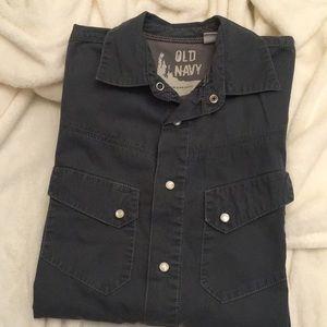 Old navy gray blue snap shirt
